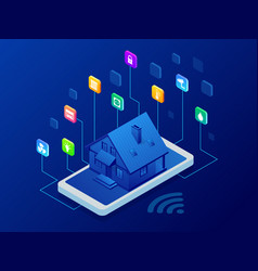 Isometric smart home technology interface on vector