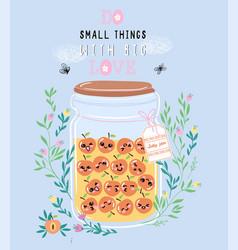 jar of peach jam with cute kawaii berries vector image