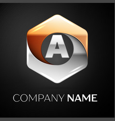 Letter a logo symbol in the colorful hexagonal on vector