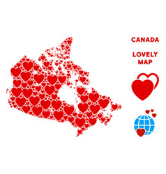 Love canada map composition of hearts vector