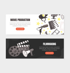 movie production landing page templates set vector image