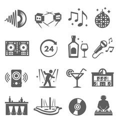 night club party icons set isolated on white vector image