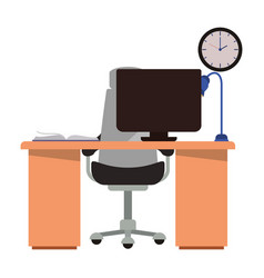 Office desk with computer isolated icon vector