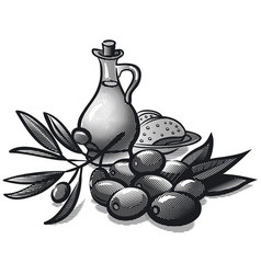 Olives and oil vector