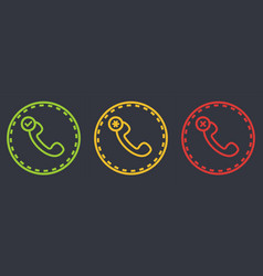 outline dashed retro telephone handset symbol set vector image