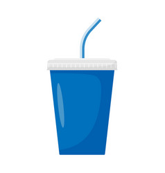 paper cup with drinking straw for soda or cold vector image