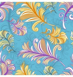 Pattern with colored abstract feathers vector image