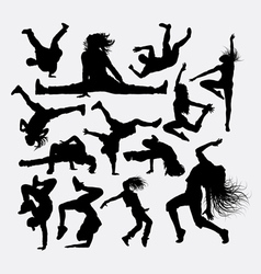 People dance male and female silhouette vector