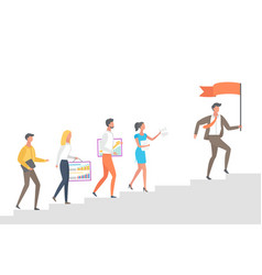 people going upstairs following leader boss flag vector image