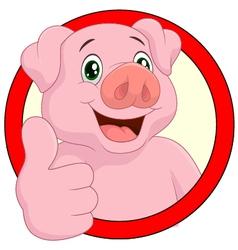 Pig giving thumb up vector image
