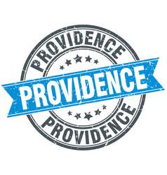 Providence blue round grunge vintage ribbon stamp vector