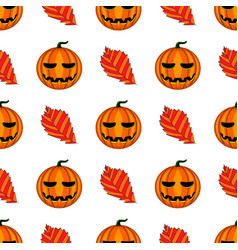 Seamless pattern with halloween pumpkin and leaf vector