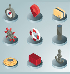 Seaport color isometric icons vector