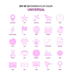 set of 25 feminish universal flat color pink icon vector image