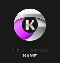 silver letter k logo in the silver-purple circle vector image