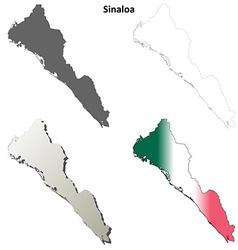 Sinaloa blank outline map set vector image