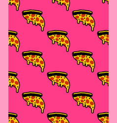 Slice pizza pattern seamless flowing cheese vector