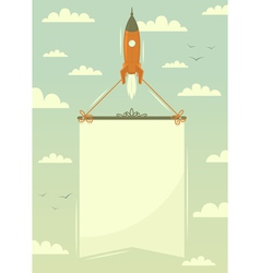 Space rocket with banner vector