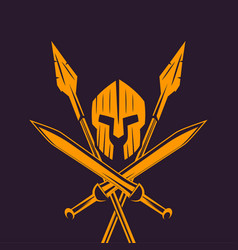 Spartans logo emblem with spartan helmet swords vector