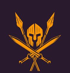 spartans logo emblem with spartan helmet swords vector image vector image