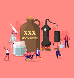 Tiny male female characters make moonshine in home vector