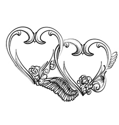 two hearts sign vector image