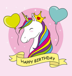 unicorn with crown and balloons vector image