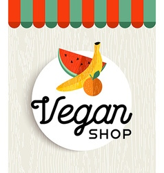 Vegan shop design with orange and banana fruit vector