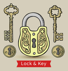 Vintage keys lock and keyholes isolated vector