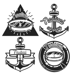 Vintage nautical emblems vector image