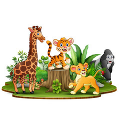 Wild animals cartoon in the park with green plants vector