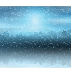 Winter forest landscape background vector image