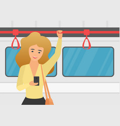 woman using smartphone in public transport vector image