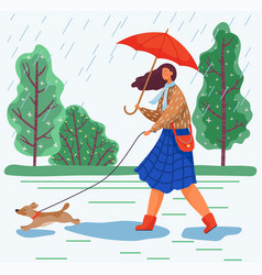 Woman walk with dog in park rainy autumn weather vector