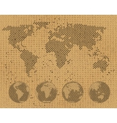 World map and globe set on cardboard texture vector