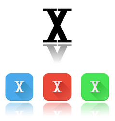 X roman numeral icons colored set with reflection vector