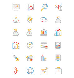Business and Finance Colored Outline Icons 1 vector image