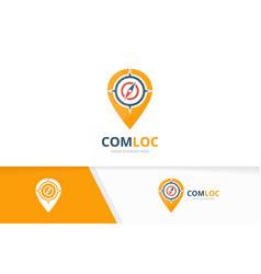 compass and map pointer logo combination vector image