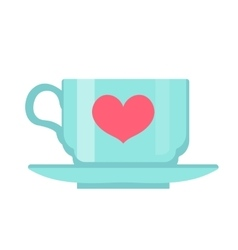 Cup with heart flat design Isolated on white vector image vector image