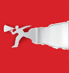Man with megaphone ripping paper vector image vector image