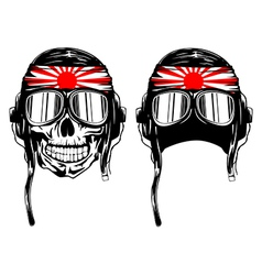 skull in pilots helmet and band vector image