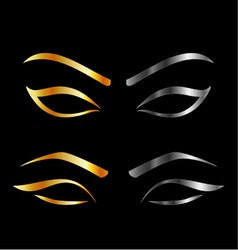 Artistic Eyes with golden and silver eyebrows vector image vector image