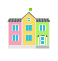 Daycare colorful building flat icon vector