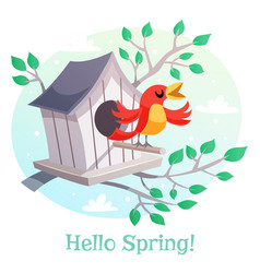 hello spring poster birdhouse and a singing bird vector image