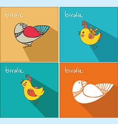 icons with birds vector image vector image