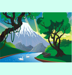 landscape - mountain river swans on the river vector image