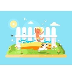 Little boy in garden pool having fun vector image