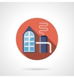 Petrochemical plant red round icon vector