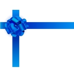 realistic Blue ribbon bow vector image