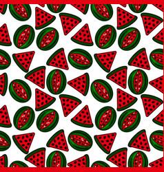 seamless design with flat cartoon watermelon vector image vector image